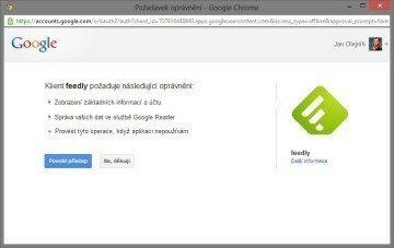 Při pokusu o propojení s Google Reader se vás Feedly nejprve dotáže na povolení