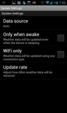 Aix Weather Widget: nastavení aktualizace