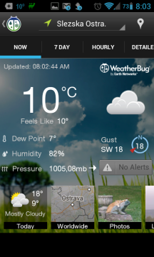 WeatherBug: aktuální situace