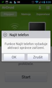 Je nutné přidat aplikaci do správce zařízení