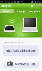 Při připojení přes mobilní síť je jedinou možností webové rozhraní