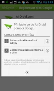 Požadavky na přístup k účtu Google