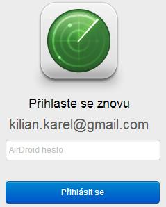 Před zjištěním polohy telefonu je nutné znovu zadat heslo