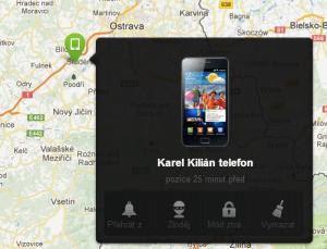 Zobrazení polohy telefonu v mapě a dostupné funkce