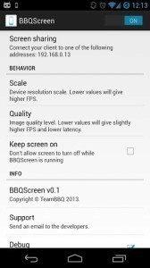 BBQScreen: možnosti nastavení