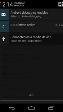 BBQScreen v notifikační liště