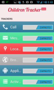 Children Tracker: možnosti nastavení