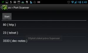 dSploit: skener otevřených portů