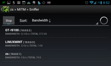dSploit: paketový sniffer