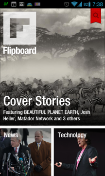 Flipboard: úvodní stránka
