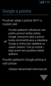 První spuštění - souhlas s použitím polohy Google a svolení s přístupem k informacím o poloze