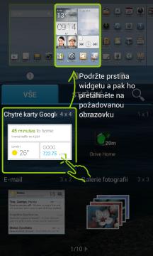 Způsob přidávání widgetů na domovskou obrazovku