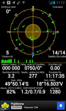 Výjimečně GPS fixovala na 14 satelitů