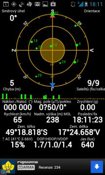 Navigace většinou fixovala na 8-9 satelitů