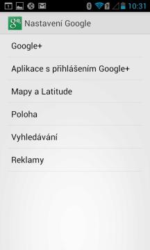 Nastavení Google