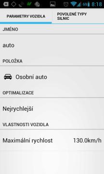 Nastavení parametrů vozidla