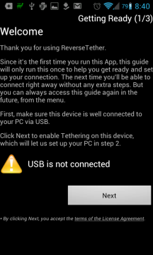 Reverse Tether: Požadavek na připojení k telefonu