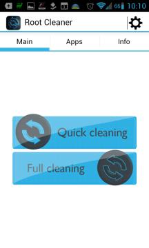 Root Cleaner: hlavní nabídka