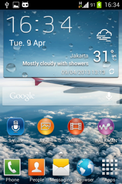 Widget počasí ze Samsungu Galaxy S4