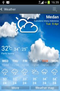 Aplikace Počasí ze Samsungu Galaxy S4
