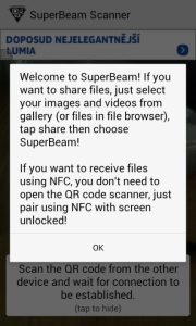 SuperBeam: úvodní obrazovka