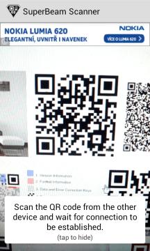 SuperBeam: skenování QR kódu