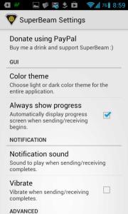 SuperBeam: možnosti nastavení