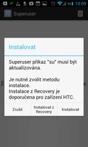 Superuser: aplikaci je nutné nainstalovat