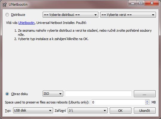 V UNetbootinu pouze vybereme obraz disku a zvolíme náš USB flash disk