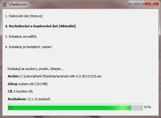 Tvorba bootovacího disku s Androidem trvá nějakou ti minutu. Je to však velmi snadné