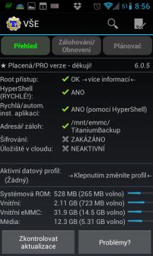 Titanium Backup: úvodní obrazovka