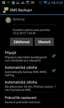 SMS Backup+: úvodní obrazovka
