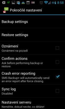 SMS Backup+: základní nastavení