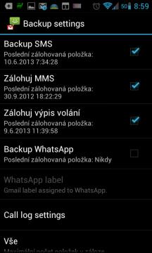 SMS Backup+: Pokročilé nastavení