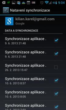 Možnosti synchronizace s účtem Google