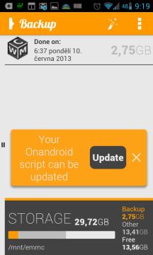 OBackup: úvodní obrazovka