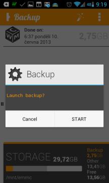 OBackup: spuštění zálohy