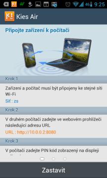 Kies Air: připojení k aplikaci