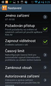 Kies Air: možnosti nastavení