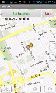 Ve Fake GPS location jsme nastavili ostravskou Stodolní
