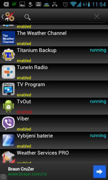 Zde vidíme běžící a jednu zakázanou aplikaci
