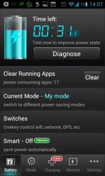 Battery Saver Du&Switch Widget: hlavní obrazovka