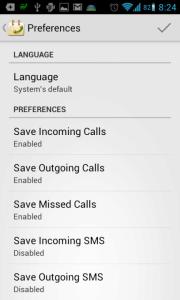 Call Log Calendar: možnosti nastavení