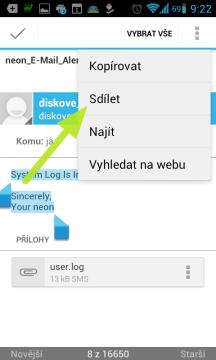 V Gmailu můžeme sdílet jen označený text