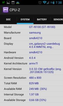 Záložka System (Samsung Galaxy S II)