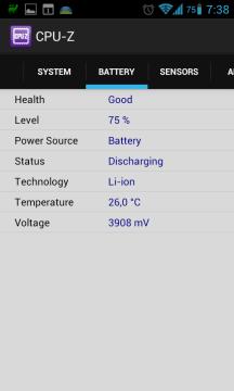 Záložka Battery (Samsung Galaxy S II)