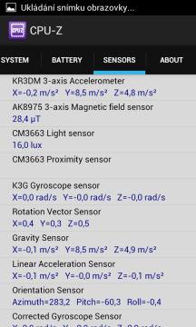 Záložka Sensors (Samsung Galaxy S II)