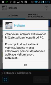 Helium - App Sync and Backup: úspěšná aktivace z počítače