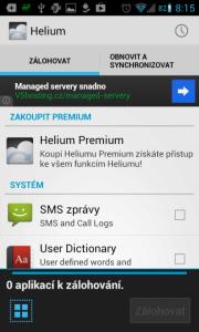 Helium - App Sync and Backup: možnosti zálohování