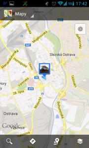 Poloha reportovaná Mapami Google